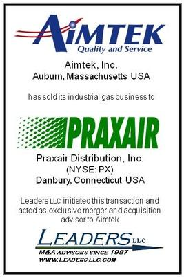 Leaders advises Aimtek on the sale of its industrial gas business to Praxair Distribution