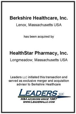 Leaders advises Berkshire Healthcare on its sale of assets to Healthstar Pharmacy