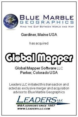 Leaders advises Blue Marble Geographics on its acquisition of Global Mapper Software