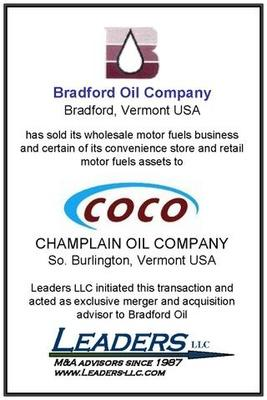 Leaders advises Bradford Oil Company on its sale of assets to Champlain Oil Company