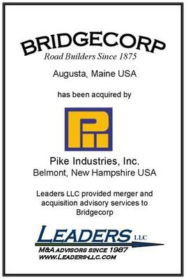 Leaders advises Bridgecorp on its sale of assets to Pike Industries