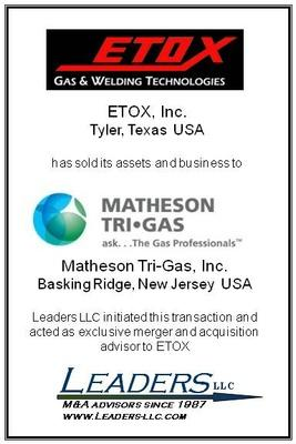 Leaders advises ETOX on the sale of its assets and business to Matheson Tri-Gas
