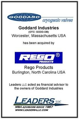 Leaders advises Goddard Valve in its sale to Rego Products