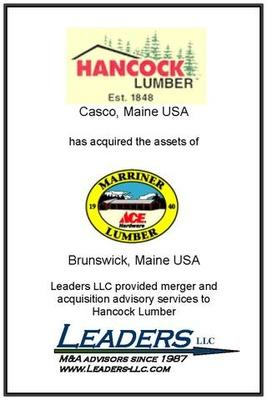 Leaders advises Hancock Lumber on its acquisition of assets of Marriner Lumber