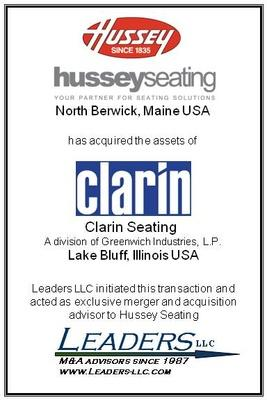 Leaders advises Hussey Seating Company on its acquisition of the assets of Clarin Seating
