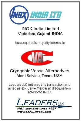 Leaders advises INOX India on its acquisition of a majority interest in Cryogenic Vessel Alternatives