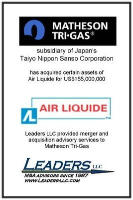 Leaders advises Matheson Tri-Gas on its acquisition of assets from Air Liquide