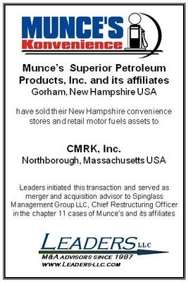 Leaders conducts successful controlled sale process and auction of New Hampshire convenience store chain