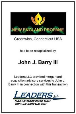 Leaders advises John J. Barry on his recapitalization of New England Propane