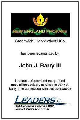 Leaders advises John J. Barry on his recapitalization of New England Propane