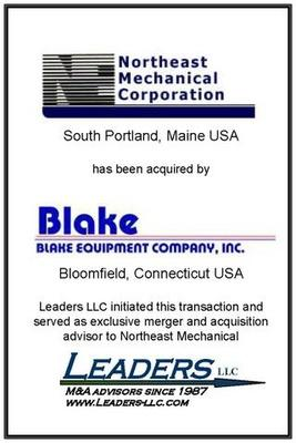 Leaders advises Northeast Mechanical on its sale of assets to Blake Equipment
