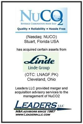Leaders advises NuCO2 on its acquisition of assets of Linde Gas