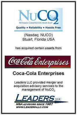 Leaders advises NuCO2 on its acquisition of assets of Coca Cola Enterprises