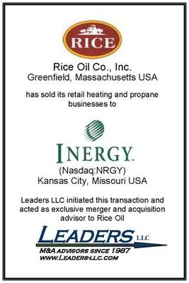 Leaders advises Rice Oil on the sale of its heating oil and propane businesses to Inergy
