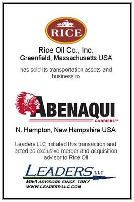 Leaders advises Rice Oil on the sale of its transportation assets and business