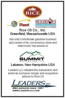 Leaders advises Rice Oil on the sale of its wholesale gasoline business and certain of its convenience store and retail motor fuels assets
