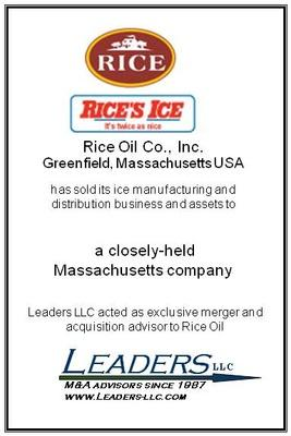 Leaders advises Rice Oil on the sale of its ice manufacturing and distribution business and assets