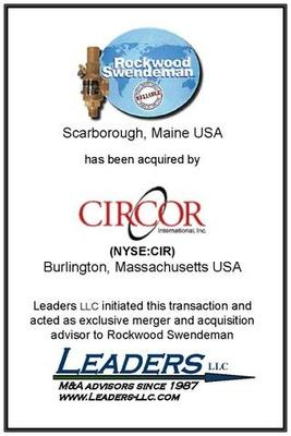 Leaders advises Rockwood Swendeman on its sale of assets to Circor International