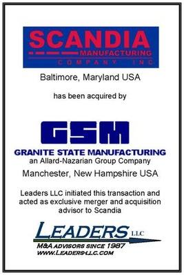 Leaders advises Scandia Manufacturing on its sale of assets to Granite State Manufacturing