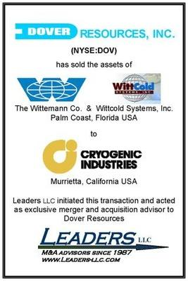 Leaders advises Dover Resources in its divestiture of the Wittemann Company and Wittcold Systems to Cryogenic Industries