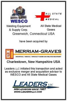 Leaders advises WESCO & All State Medical Gases on their sale of assets to Merriam Graves