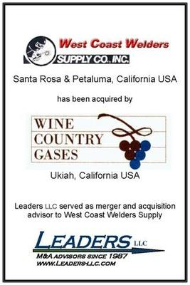 Leaders advises West Coast Welders Supply in its sale of assets to Wine Country Gases
