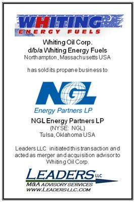 Leaders advises Whiting Oil Corp. on the sale of its propane business to NGL Energy Partners LP