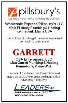 Leaders advises Wholesale Express/Pillsbury's LLC on the sale of its plumbing & heating service and contracting business.