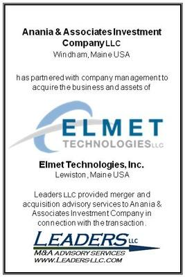 Leaders Advises Anania & Associates Investment Company in its acquisition of Elmet Technologies