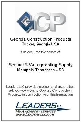 Leaders advises Georgia Construction Products on its acquisition of Sealant & Waterproofing Supply (SWS)