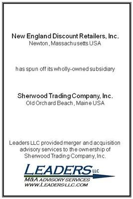 Leaders advises Sherwood Trading in its spin-off from New England Discount Retailers