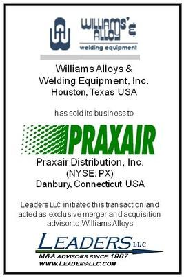 Leaders Advises Williams Alloys & Welding Equipment on its sale to Praxair Distribution